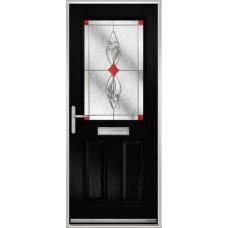 DoorCo Lytham composite door with Thorncliff Red glazing