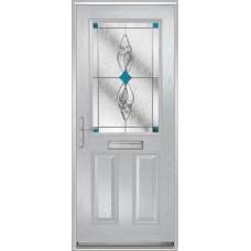 DoorCo Lytham composite door with Thorn Cliff Blue glazing
