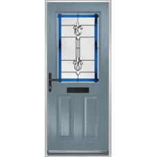 DoorCo Lytham composite door with Designer Etch Blue glazing