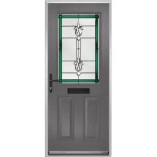 DoorCo Lytham composite door with Designer Etch Green glazing
