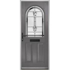 DoorCo Turnberry composite door with Designer Etch Grey glazing