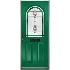 DoorCo Turnberry composite door with Designer Etch Green glazing