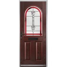 DoorCo Turnberry composite door with Designer Etch Red glazing