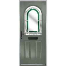 DoorCo Turnberry composite door with Inspiration Green glazing