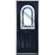 DoorCo Turnberry composite door with Inspiration Blue glazing