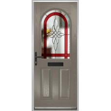 DoorCo Turnberry composite door with Harmony Red glazing