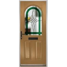 DoorCo Turnberry composite door with Harmony Green glazing