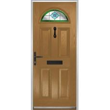 DoorCo Portrush Composite door with Dorchester Green Glazing
