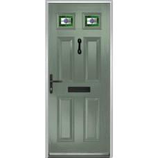 DoorCo Muirfield  Composite door with Dorchester Green Glazing