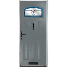 DoorCo St Andrews Composite Doors With Designer Etch Blue Glazing