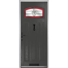 DoorCo St Andrews Composite Doors With Designer Etch Red Glazing
