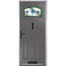 DoorCo St Andrews Composite Doors With Dorchester Green Glazing
