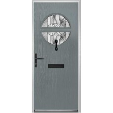 DoorCo Chantilly Lever Handle Composite door with Abstract Glazing