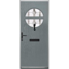 DoorCo Chantilly Lever Handle Composite door with Caledonian Rose Glazing